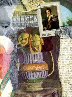 Collage with Vase-original collage  layered with vintage images and text, tissue paper, a stamp and rubberstamped