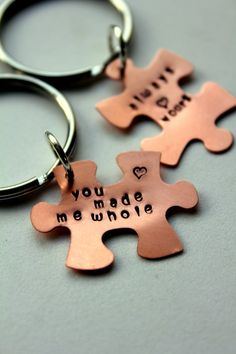 Puzzle Piece Personalized Keychain Valentines by whiteliliedesigns, $24.50