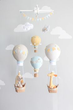 Hot Air Balloon Baby Mobile, Giraffe and Elephant Nursery Decor, Travel Theme Nursery, Orange, Aqua, Gray-Griege Nursery, i167