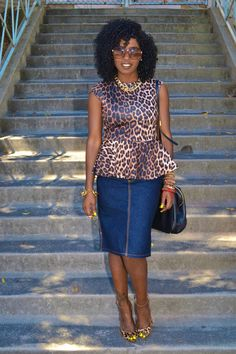 Leopard Print Peplum Blouse + Denim Pencil Skirt