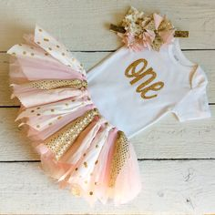 pink and gold tutu pink and gold fabric tutu pink by LittleBbows First Birthday Tutu, New Birthday Cake, Gold Birthday, Baby Birthday, First Birthday Parties, First Birthdays, Birthday Outfits, Birthday Bash, Gold Tutu