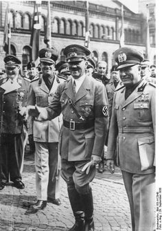 http://ww2today.com/wp-content/uploads/2013/12/Bundesarchiv_Bild_183-H12940_M%C3%BCnchener_Abkommen_Ankunft_Mussolini_Hitler.jpg From left Goring, Ciano, Hitler and Mussolini in 1938.
