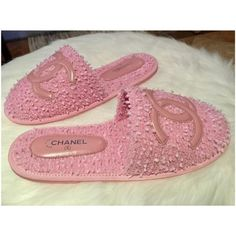 Get the must-have mules of this season! These Chanel Pink New Rare Cc Tweed Slippers On Sandals (S Mules/Slides Size US 7 Regular (M, B) are a top 10 member favorite on Tradesy. Save on yours before they're sold out! Chanel Mules, Chanel Flats, Chanel Pink, Cruise Collection, Chanel Cruise, Chanel Logo, Pink Heels, Kinds Of Shoes, Beautiful Lingerie