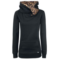 - front pouch - contrasting hood lining - logo button on the front  Is there a dangerous wildcat slumbering inside you? Then show it off with the Cross Over Leo of Pussy Deluxe. The hooded sweater is plain, yet an eye-catcher with its contrasting coloured hood lining in leopard pattern. The hooded sweater additionally features a kangaroo pocket, in which you can hide your dangerous paws.