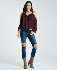 Tasseled Cold-Shoulder Top With Crochet Trim Tasseled Cold-Shoulder Top With…