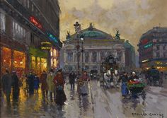 EDOUARD CORTÈS 1882 - 1969 MARCHANDE DE FLEURS, AVENUE DE L'OPERA signed Edouard Cortès (lower right) oil on canvas 13 by 18 1/8 in