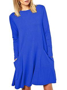 514619fb586dc Kissky Women s Basic Long Sleeve Pockets Casual Swing Plain Tshirt Dress  (XS