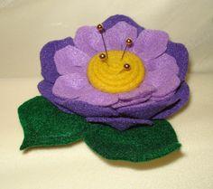 Handmade Purple Rose Flower Felt Pin Cushion  Free by AnaWhoTwo