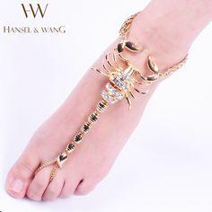 Hansel & Wang Skorpion Ankle Armband Barfüßigsandelholz Bein Neue Fußkettchen Für Frauen Zum Strand Kette Fußkettchen AS26
