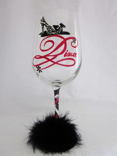 Hand Painted Shoe Diva Wine Glass Adorned with a by MimossaStudio, $22.00