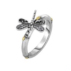 18k Yellow Gold Ss Oxidized Finish Shiny 14-2.9mm Bamboo Textured White Sapphire Dragonfly Ring - Ring Size Options: 07 08 *** You can find more details by visiting the image link. (This is an affiliate link and I receive a commission for the sales)
