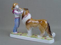 «Дружба. Девочка с собакой», фарфор, роспись надглазурная. Дулево, авт.формы…