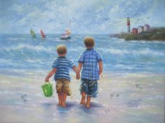 Two Beach Boys Art Print two brothers beach by VickieWadeFineArt