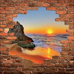 Sticker mural trompe l'oeil mur de pierre déco Couché de soleil réf 903
