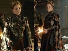 """In the episode 3x15 (""""Safe Passage"""") Queen Catherine wears this stunning Reign Costumes custom coat with dramatic two-piece bell sleeves made with this Valentino brocade fabric from Fabriluxe."""