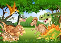 Illustration about Illustration of Cartoon happy dinosaurs living in the jungle. Illustration of jungle, nature, dinosaur - 123346992 Dinosaur Photo, Dinosaur Images, Jungle Cartoon, Cartoon Cartoon, Dibujos Baby Shower, Dinosaur Background, Dinosaur Sketch, Dinosaurs Live, Jungle Illustration