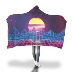 80s Synthwave Vintage Hooded Blanket