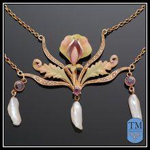 Antique 14k Gold Art Nouveau Enamel Freshwater Pearl & Amethyst Festoon Necklace