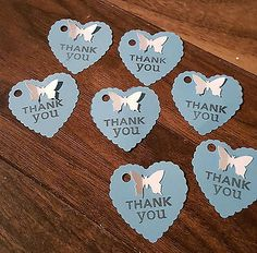 20 BLUE HEART SHAPED THANK YOU GIFT TAGS WITH WHITE BUTTERFLY in Home, Furniture & DIY, Wedding Supplies, Wedding Favours   eBay