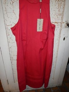 #BURBERRY Dress Keely Red Pleated Cotton Italy 14 Party Sale Cruise New  Gift #BurberryLondon #Shift #WeartoWork