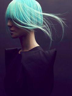 futuristic fashion, Gustavo Lopez Manas, model girl, future fashion, futuristic look, hairstyle, blue hair, black dress, strange hair,unique by FuturisticNews