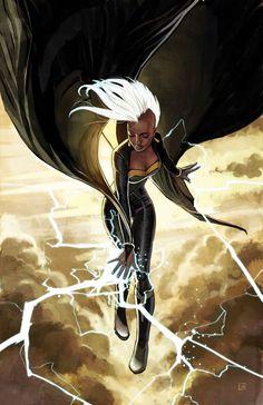 Storm by Stephanie Hans X-Men, Marvel Comics, Super Heroes Comic Book Characters, Comic Book Heroes, Marvel Characters, Comic Books Art, Comic Art, Book Art, Childhood Characters, Black Characters, Marvel Comic Character