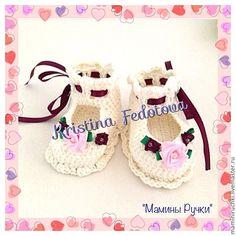 Купить Пинетки для принцессы - белый, однотонный, крючком, пинетки, для девочки, для новорожденного, вязание крючком ♥♥