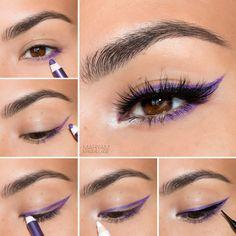 eyeliner with pencil & eyeliner with pencil . eyeliner with pencil tutorial . eyeliner with pencil how to do Lila Eyeliner, Purple Eyeliner, Eyeliner Looks, How To Apply Eyeliner, No Eyeliner Makeup, Eye Makeup Tips, Makeup Inspo, Makeup Hacks, Beauty Makeup