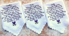 Embroidered Wedding Handkerchiefs and Gifts by HeirloomWeddings Wedding Tips, Fall Wedding, Wedding Favors, August Wedding, Rustic Wedding, Wedding Stuff, Fairytale Weddings, Cinderella Wedding, Disney Cruise Wedding