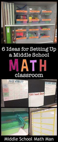 Post gives 6 creative ideas to help set up and organize the middle school math classroom, including ideas for task card storage and bulletin boards! Google Classroom, Math Teacher, Teaching Math, Maths Guidés, Math Games, Math Activities, Math Math, Math Fractions, Math Worksheets