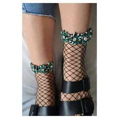 Emerald Embroidered Fishnet Socks