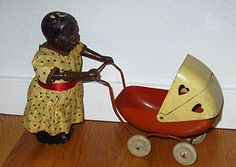 1930s Black Americana Composition Doll w/ Wyandotte Pressed Steel Stroller