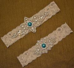 Wedding Garter, Wedding Garter Set, Unique Blue Rhinestone Garter Belt, Ivory or White Something Blue Bridal Garter, Vintage Style, B42 by SpecialTouchBridal on Etsy
