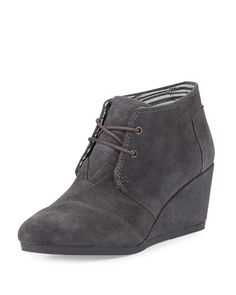 Women's Fashion Lace Up Round Toe Ankle High Oxford Wedge Bootie Black Dark Grey