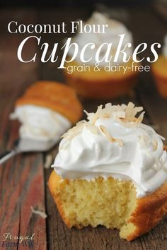 These coconut flour cupcakes are completely grain-free, and SO yummy! Top them w… These coconut flour cupcakes are completely grain-free, Desserts Keto, Paleo Dessert, Gluten Free Desserts, Dairy Free Recipes, Low Carb Recipes, Gluten Free Party Food, No Sugar Desserts, Baking Desserts, Cake Baking