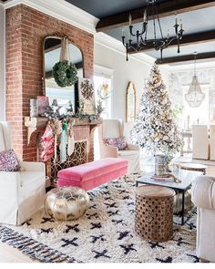 Whimsical Christmas Dreams! Brittany and Mark's @addisonswonderland living room has been 'Christmased' and it makes everything in this space look extra special! Find the Demure Chandelier in our Addison's Wonderland Curated Collection, carefully curated by Brittany and exclusively at Painted Fox Home! And remember.... EVERYTHING HAS BEEN MARKED DOWN AT PaintedFoxHome.com and THERE'S AN EXTRA 15% OFF WITH CODE: MERRY! Shipping? That's ALWAYS FREE!