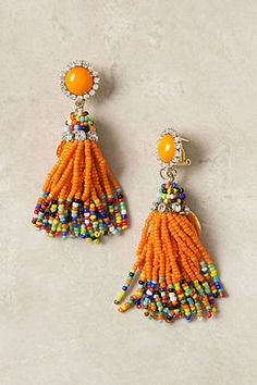 Anthropologie Terni Earrings Rada Jewelry New Italy orange crystals glass beads