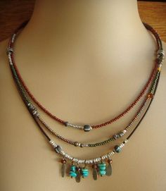 Adornments and Glass Beaded Necklace seed bead strands and decorated seed bead strand with gemstone dangles: