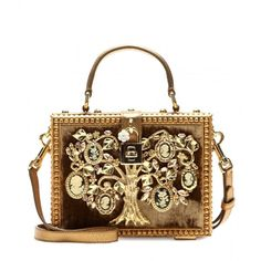 Dolce & Gabbana Dolce Embellished Shoulder Bag ($6,920) ❤ liked on Polyvore featuring bags, handbags, shoulder bags, purses, clutches, gold, gold purse, embellished handbags, embellished purses and brown handbags
