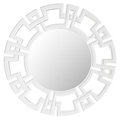 Circular wall mirror with a geometric border.   Product: MirrorConstruction Material: Resin and mirrored glass