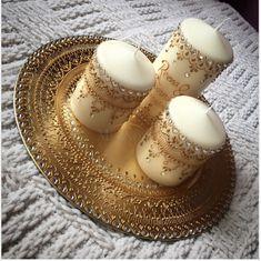 Mehndi by Tasha by Mehandibytasha Henna Candles, Gold Candles, Mehndi Decor, Mehendi, Christmas Candle Decorations, Candle Art, Henna Party, Wedding Mehndi, Wedding Plates