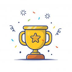 Golden Goblet With Star, Reward Icon White Isolated Cartoon Drawings, Easy Drawings, Graphic Design Lessons, School Icon, App Development Companies, School Colors, Graphic Design Illustration, Cute Stickers, Vector Icons
