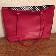 Fabulous Red leather carry all handbag Black with white polka dots inside made by Cozy Bling Cozy Bling Bags