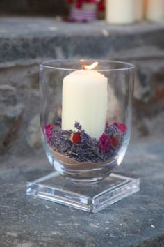 Lavender and Rose Candle Vase
