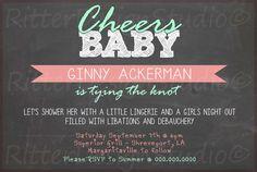 Chalkboard Wedding Bachelorette Party Shower Invitation - Printable