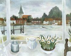 Sarah Bowman Naive, Beautiful Things, Scandinavian, British, Window, Landscape, Drawings, Illustration, Painting