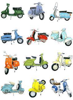 12 Retro Scooters Archival Print by ChristineBerrie on Etsy Scooter Drawing, Retro Scooter, Scooter Scooter, Vespa Scooters, Lambretta, Prop Design, Triumph Motorcycles, Custom Motorcycles, Visual Development