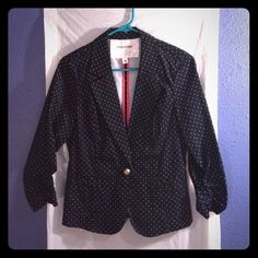 Cute dot jacket Navy with white pin dots. Silver button closure. Ruching on the sleeves. EUC. Hardly worn. Maurices Jackets & Coats Blazers