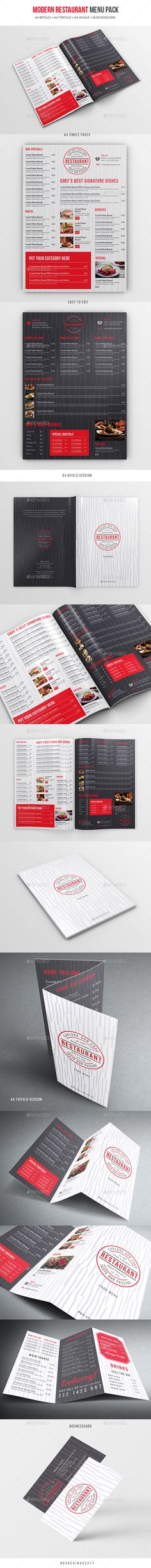 Modern Restaurant Menu Pack ( A4 Bifold + Trifold + Single Page A4 + BC) - Food Menus Print Templates Download here : https://graphicriver.net/item/modern-restaurant-menu-pack-a4-bifold-trifold-single-page-a4-bc/19292232?s_rank=67&ref=Al-fatih
