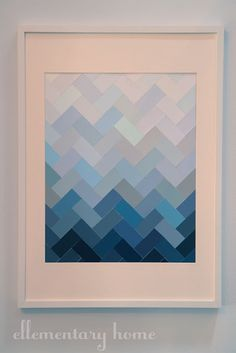Paint chips - when I first tried my hand at quilting, I cut up paint chips and used them to work out my design. I never thought of framing them, but I like the idea.